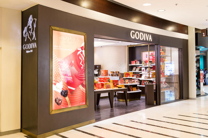 HONG KONG, January 29, 2017: Godiva chocolate outlet in Hong Kong. Godiva Chocolatier is a manufacturer of premium chocolates. Founded in Belgium in 1926 royalty free stock image