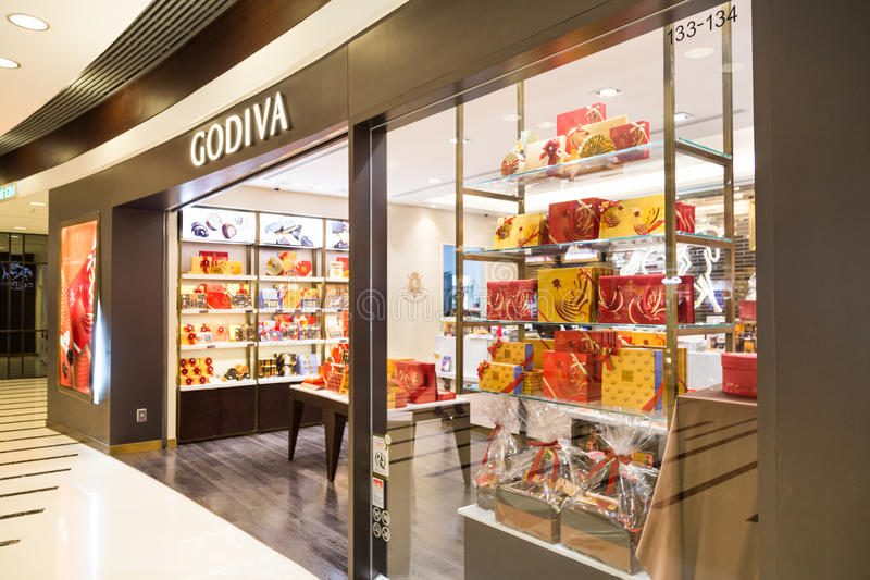 HONG KONG, January 29, 2017: Godiva chocolate outlet in Hong Kong. Godiva Chocolatier is a manufacturer of premium chocolates. Founded in Belgium in 1926 stock images
