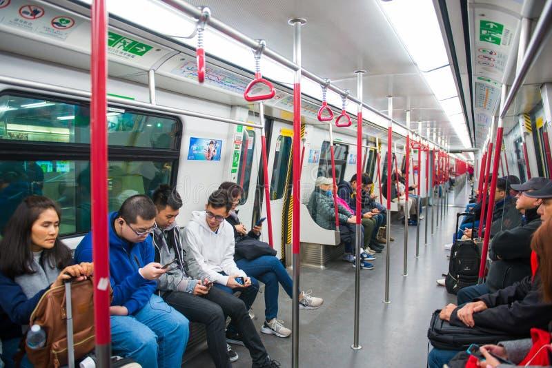 Hong Kong - January 9, 2018 :Interior of a subway train in Hong royalty free stock photos