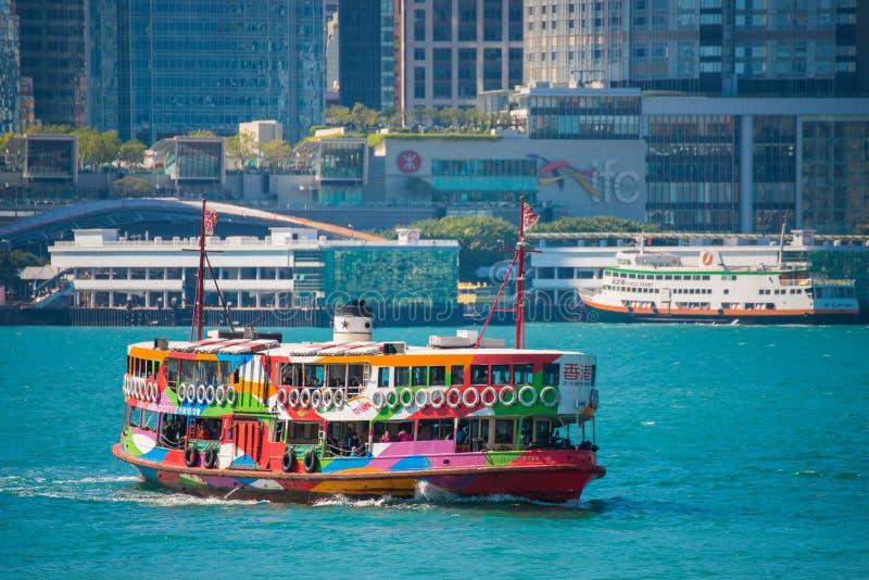 Hong Kong - January 10, 2018 :Passenger ship in Victoria harbor. At Hong Kong Island, landmark royalty free stock image