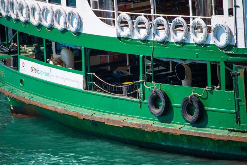 Hong Kong - January 10, 2018 :Passenger ship waiting for passengers at harbor, Victoria harbor. Hong Kong stock photos