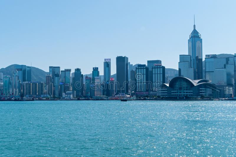 Victoria Harbor and Hong Kong Island. Hong Kong January 29, 2016: Victoria Harbor and Hong Kong Island.photo taken from Victoria Harbor stock image