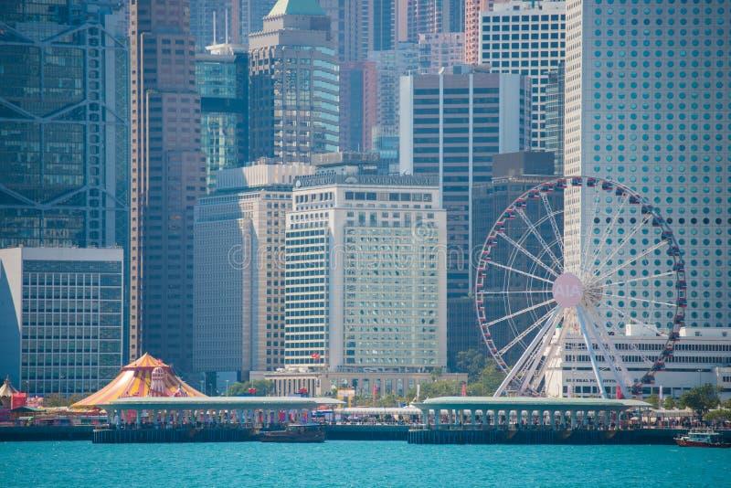 Hong Kong - January 10, 2018 :View of Cityscape at Victoria Harbor Island, Hong Kong. Landmark royalty free stock photography