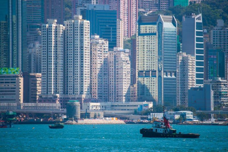 Hong Kong - January 10, 2018 :View of Cityscape at Victoria Harbor Island, Hong Kong. Landmark stock images