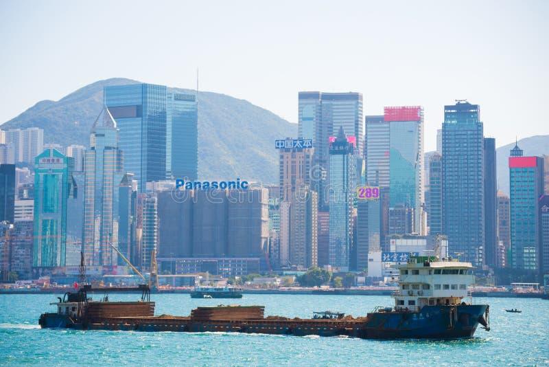 Hong Kong - January 10, 2018 :View of Cityscape at Victoria Harbor Island, Hong Kong. Landmark stock image