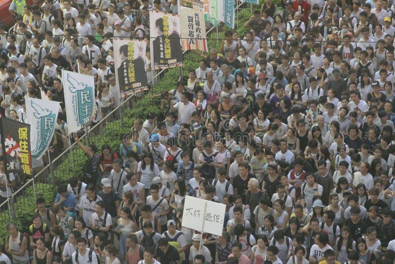 Hong Kong 1 Juli 2014 upptar centrala protester royaltyfri foto