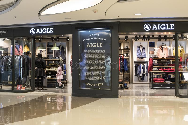Aigle store in Hong Kong. stock photo