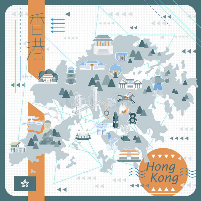 Hong Kong-kaartontwerp stock illustratie