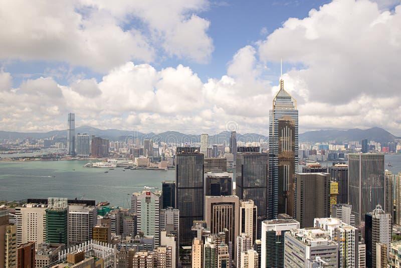 Hong Kong Kina - September 22, 2017: CentralPlaza för flyg- sikt royaltyfri foto