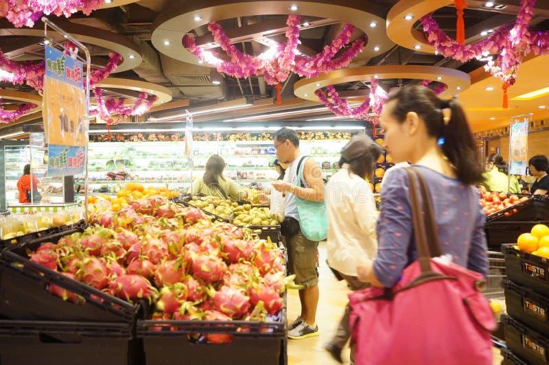 Hong Kong Kina: supermarketfruktområde royaltyfri bild