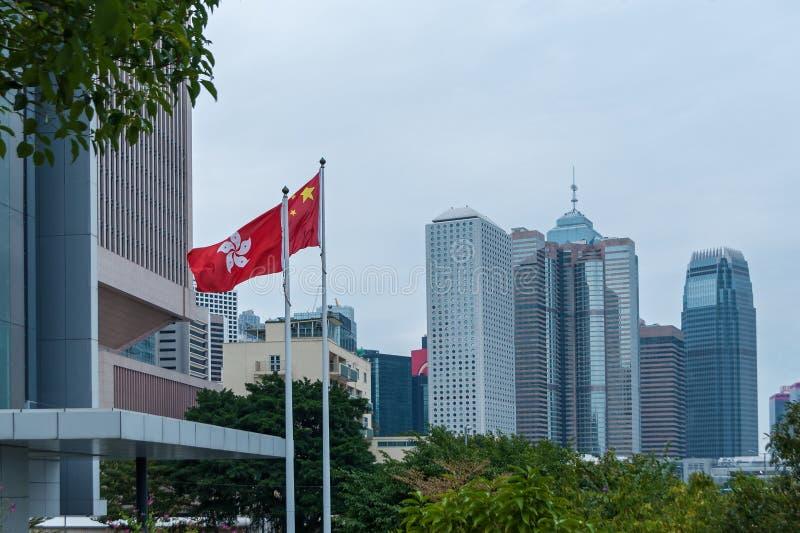 Hong Kong Korporacyjni budynki, flaga Hong Kong obrazy stock