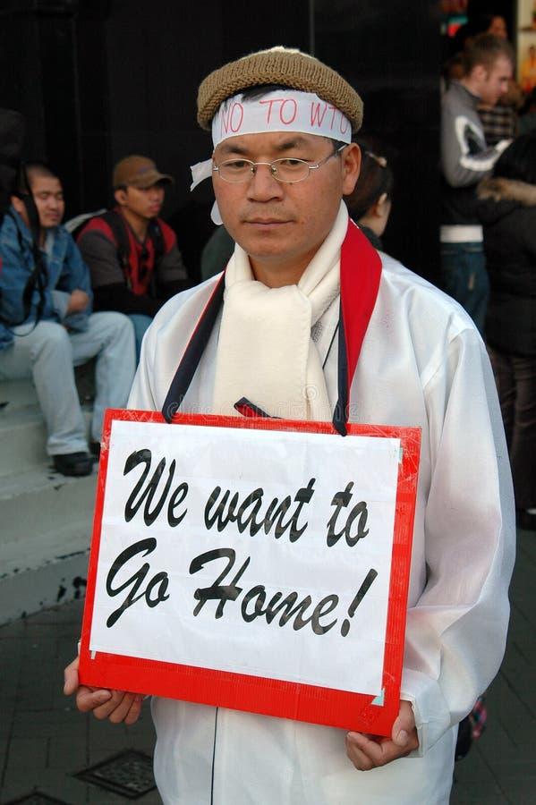Hong Kong : L'OMC de protestation coréenne images stock
