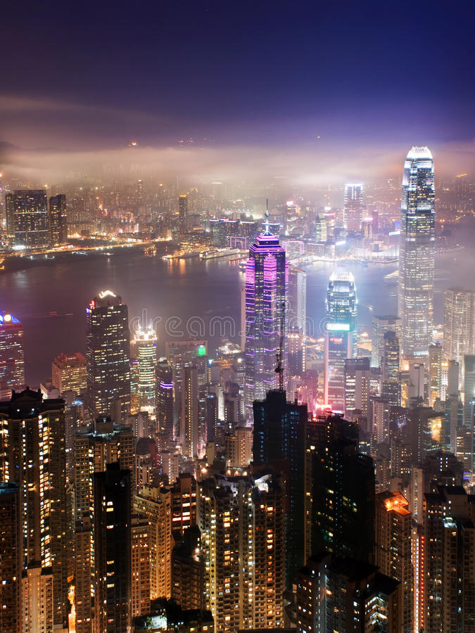 Hong Kong la nuit photo libre de droits