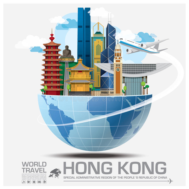 Hong Kong Landmark Global Travel och resa Infographic stock illustrationer