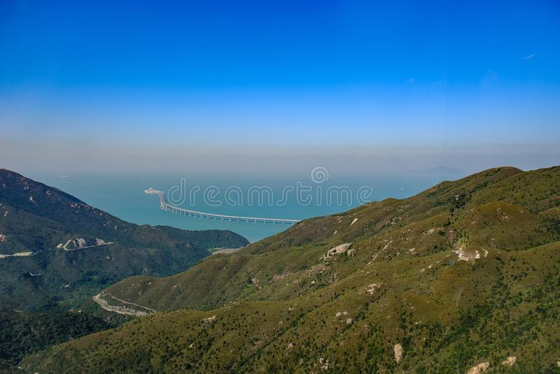 Hong Kong-landschap, satellietbeeld stock afbeeldingen