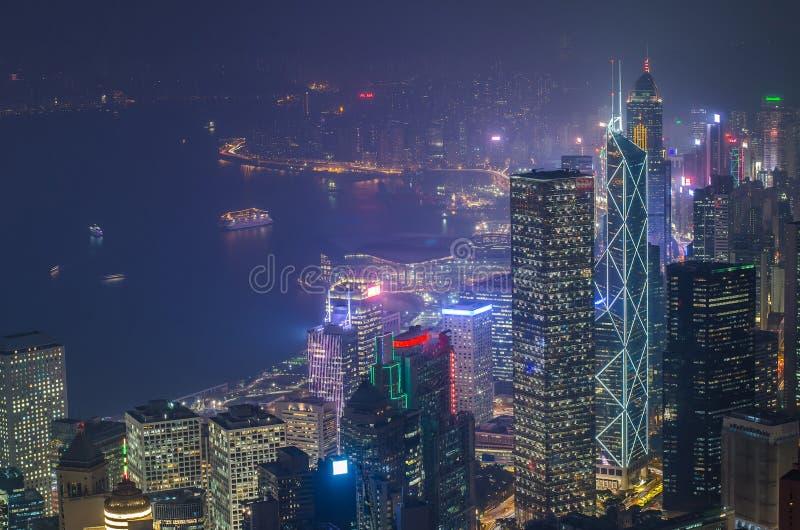 Hong Kong las escenas, puerto de Victoria de la opinión máxima del pájaro fotografía de archivo libre de regalías