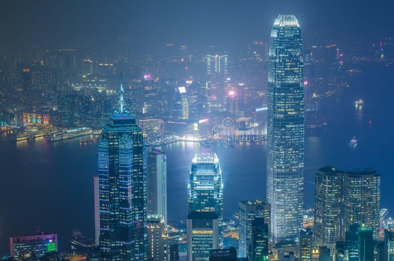 Hong Kong las escenas, puerto de Victoria de la opinión máxima del pájaro, fotografía de archivo