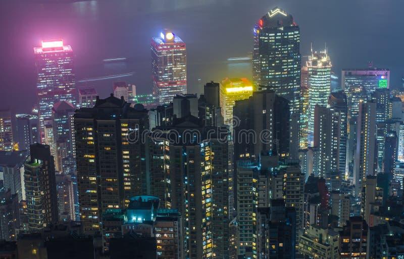 Hong Kong las escenas, puerto de Victoria de la opinión máxima del pájaro, imagen de archivo libre de regalías