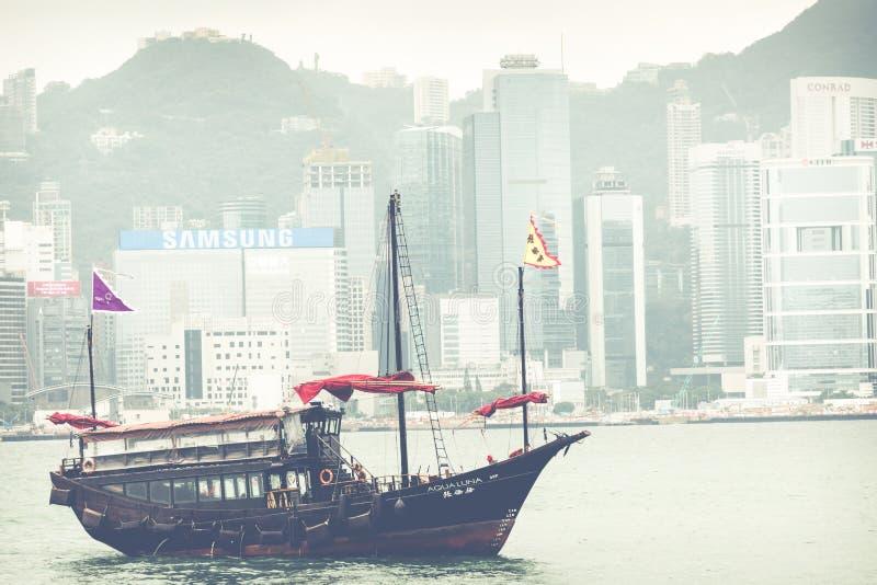HONG KONG, LE 5 JUIN 2018 : Navigation en bois de chinois traditionnel SH photo libre de droits