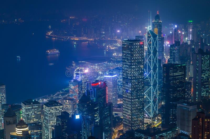 Hong Kong le scene, porto di Victoria dal punto di vista di punta dell'uccello, fotografia stock