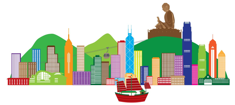 Hong Kong linia horyzontu i Buddha statua koloru wektoru ilustracja ilustracja wektor