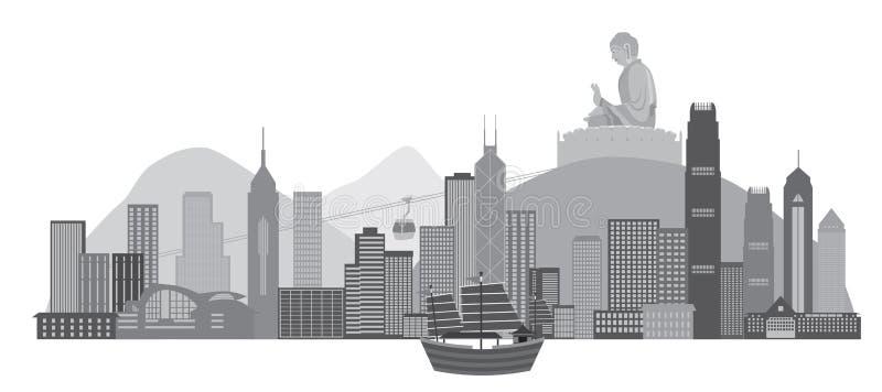 Hong Kong linia horyzontu z Ikonową dżonki łodzi i Buddha statuy wektoru ilustracją royalty ilustracja