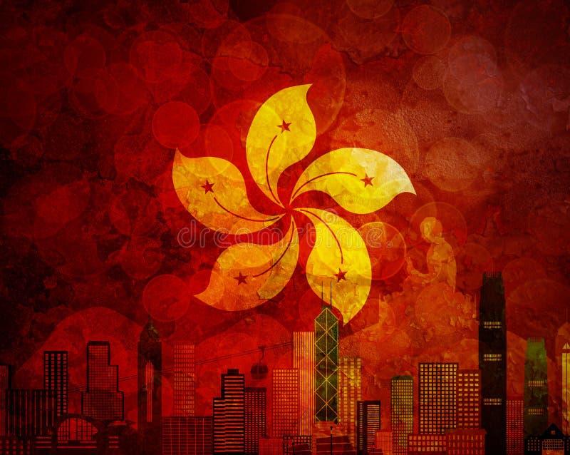 Hong Kong linii horyzontu HK flaga Grunge tła ilustracja ilustracja wektor
