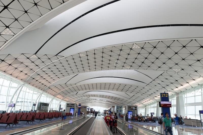 Hong Kong lotniska międzynarodowego środka boiska Concourse fotografia stock
