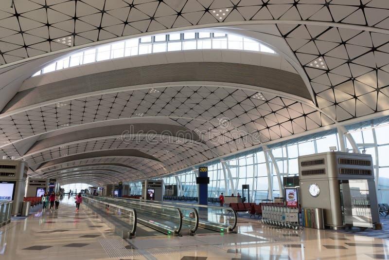 Hong Kong lotniska mi?dzynarodowego ?rodka boiska Concourse zdjęcia stock