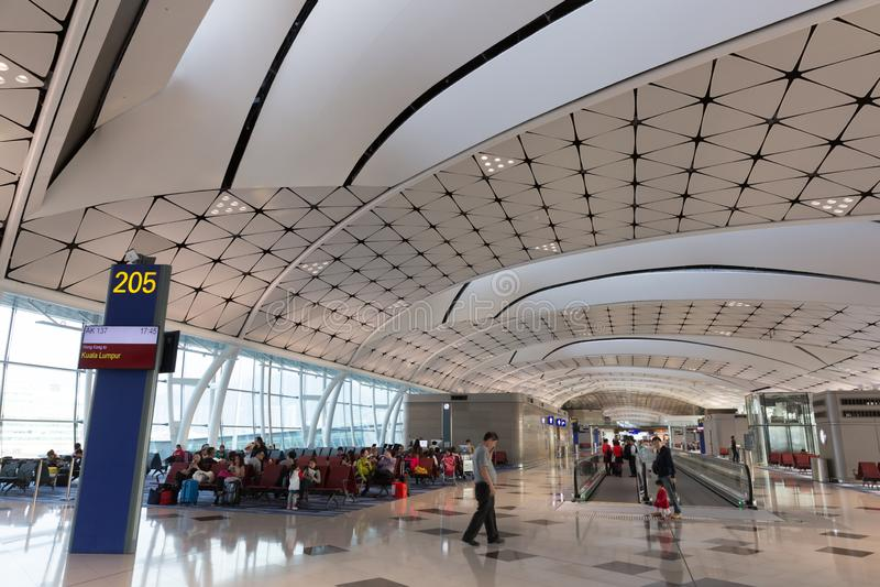 Hong Kong lotniska mi?dzynarodowego ?rodka boiska Concourse obraz royalty free
