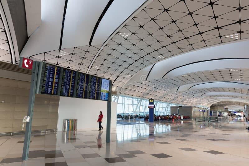 Hong Kong lotniska mi?dzynarodowego ?rodka boiska Concourse zdjęcie royalty free