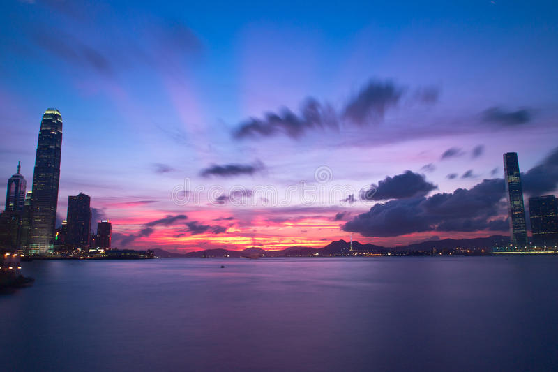 Hong Kong Magic Hour View Stock Image