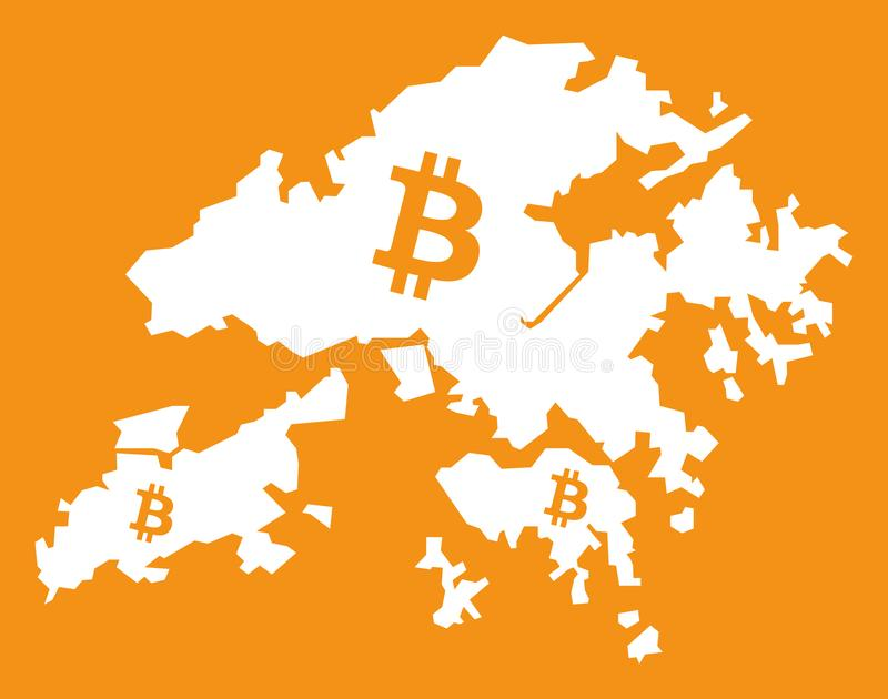 Hong Kong Map With Bitcoin Crypto Currency Symbol Illustration Stock