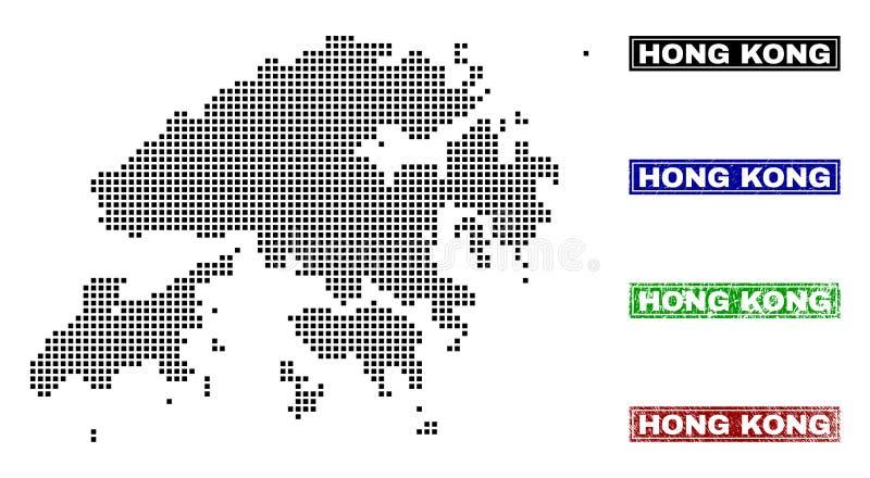 Hong Kong Map in Dot Style con i bolli di nome di lerciume illustrazione di stock