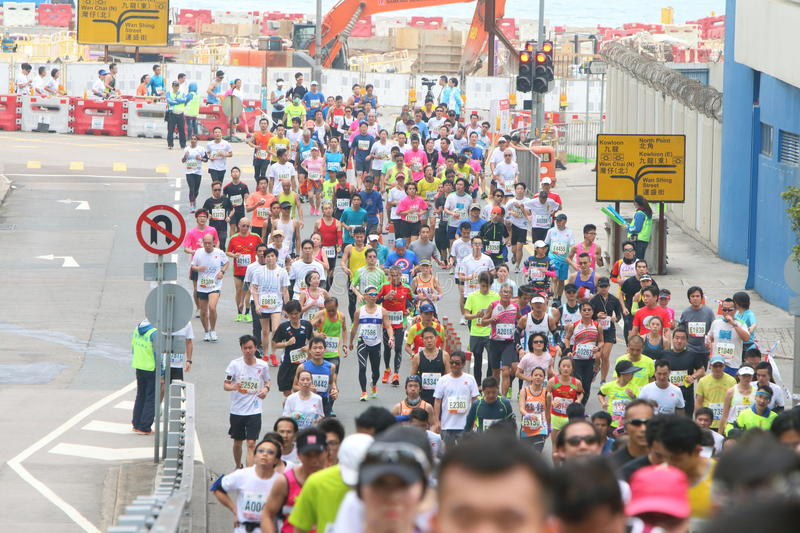 Hong Kong Marathon 2015. The Honourable Mrs. Lam Cheng Yuet-ngor, Carrie, Chief Secretary for Administration of the Hong Kong Special Administrative Region royalty free stock photos