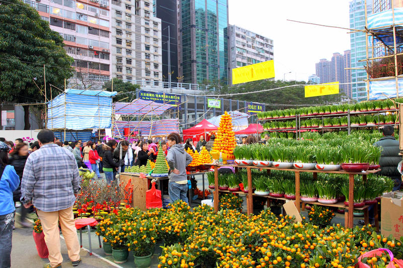 Hong Kong : Marché chinois d'an neuf images stock