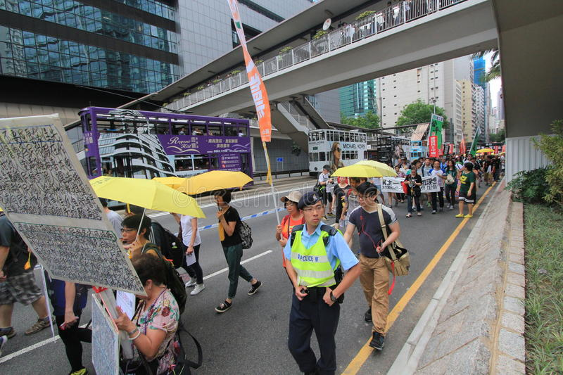2015 Hong Kong march event of 26th anniversary of Tiananmen Square protests of 1989. The 26th anniversary of Tiananmen Square protests of 1989 march, located in royalty free stock photography