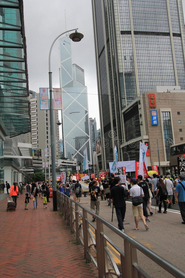 2015 Hong Kong march event of 26th anniversary of Tiananmen Square protests of 1989. The 26th anniversary of Tiananmen Square protests of 1989 march, located in stock photos
