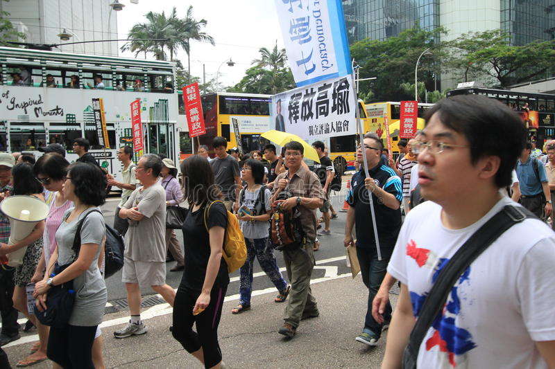 2015 Hong Kong march event of 26th anniversary of Tiananmen Square protests of 1989. The 26th anniversary of Tiananmen Square protests of 1989 march, located in royalty free stock photo