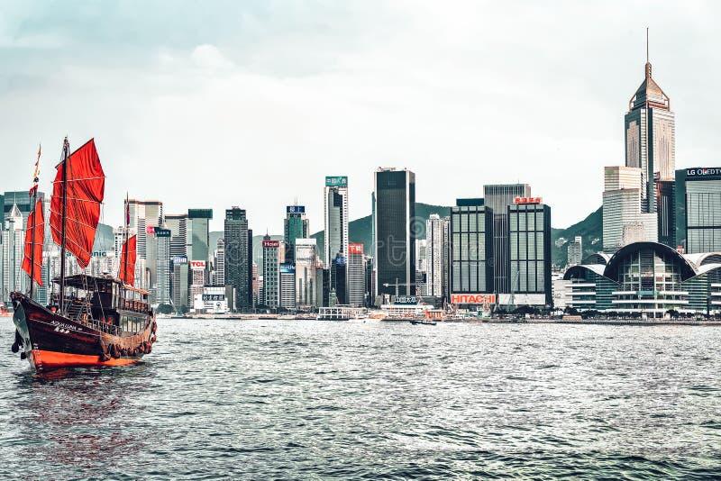 Victoria Harbor in Hong Kong. Hong Kong, Hong Kong - March 6, 2016: Victoria Harbor in Hong Kong stock photos