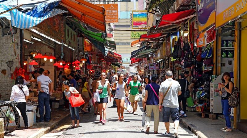 Hong Kong marknad royaltyfria bilder