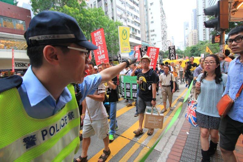 Hong Kong marschhändelse av den 26th årsdagen av protester för Tiananmen fyrkant av 1989 arkivbilder