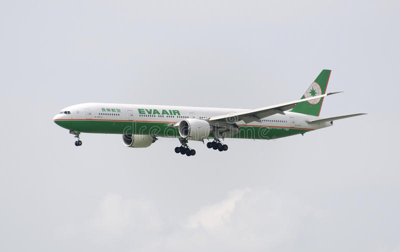 HONG KONG - May 30: EVA Air B777 arrive in Hong Kong International Airport on May 30, 2015 in Hong Kong. EVA Air is an airline fro. EVA Air B777 aircraft is royalty free stock images