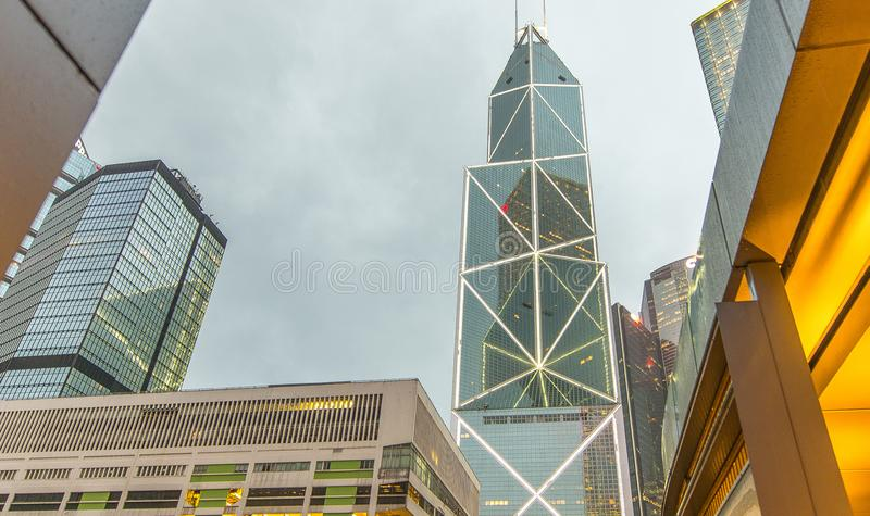 HONG KONG - MAY 11, 2014: Hong Kong skyline in the evening. The royalty free stock image