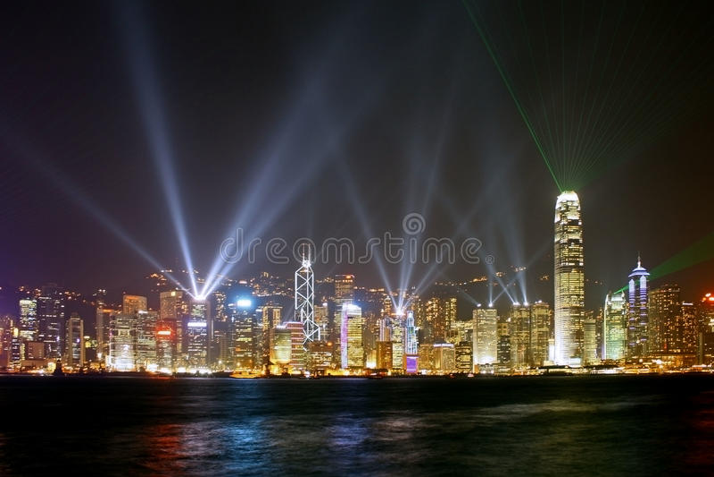 hong kong metropolii noc scena obraz royalty free