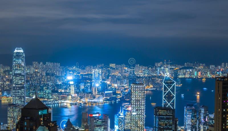 Hong Kong miasta widok przy nocą fotografia stock