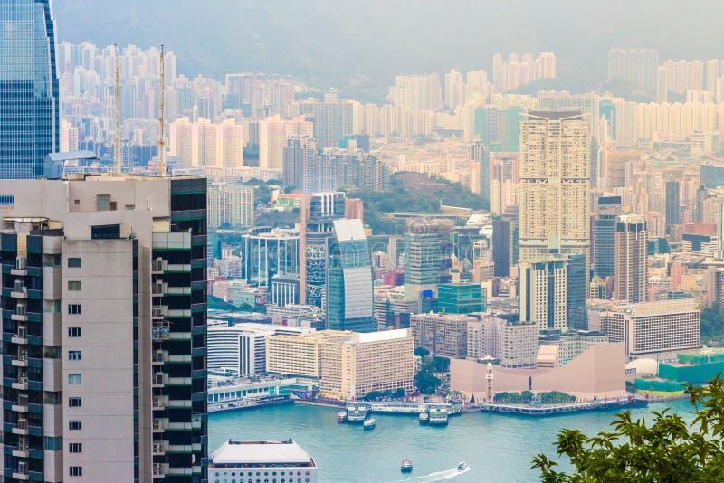 Hong Kong miasta widok przy półmrokiem obraz stock