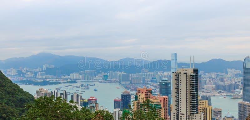 Hong Kong miasta widok przy półmrokiem obrazy royalty free