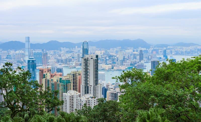 Hong Kong miasta widok w półmroku zdjęcie stock