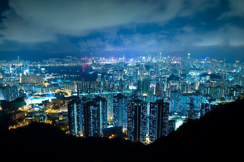Hong Kong Modern Buildings at Night royalty free stock photography
